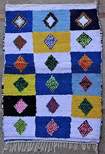 Marokkanischer Berberteppich, authentisch, Boucherouit, aus recyceltem Stoff und Baumwolle, 145 x 105 cm, recycelte Textilien aus der Azilal-Tribu