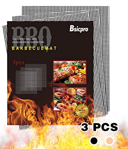 Bsicpro 3PCS BBQ Grill Mesh Mat Non Stick Reusable Barbecue Sheet Liners for Grilled Works On Electric Grill Oven Gas Charcoal BBQ Grill (Balck)