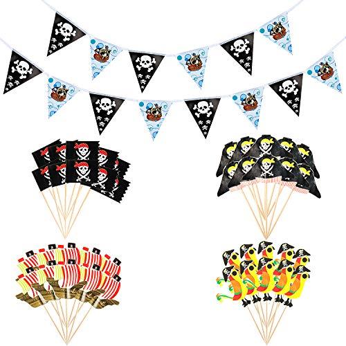 Vordas Welecoco Piratas Pastel Topper Cupcake, 40pcs Magdalena del Pastel del Tema del Pirata Topper Cupcake Picks +1Pcs Pirate Flag Banner (Length 400cm), Decoraciones de la Torta