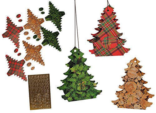 alles-meine.de GmbH XL BASTELSET Weihnachtskalender - 24 Tannenbäume zum Aufhängen / Hinstellen + Befüllen - selber Basteln - für Erwachsene / Kinder / Mädchen Jungen - Adventska..