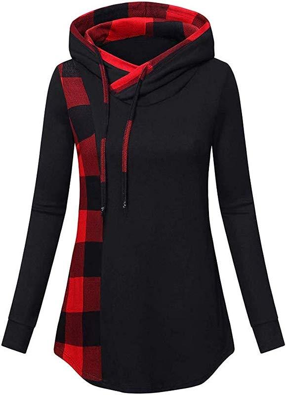 TWGONE Funnel Neck Hoodie Womens Hooded Tunic Tops For Leggings For Women Autum Winter Long Sleeved Blouse Plaid Sweatshirt