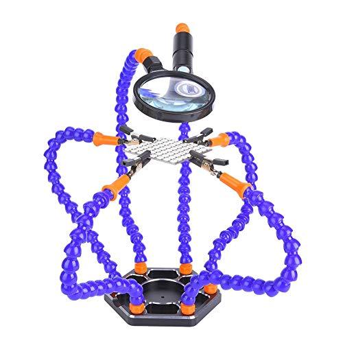 Lötstation mit helfenden Händen, flexible dritte Hand, Lötkolben-Zubehör-Werkzeugsätze (Nylonarm, Montageschlüssel, Clip, Sockel, LED-Licht, Lupe)