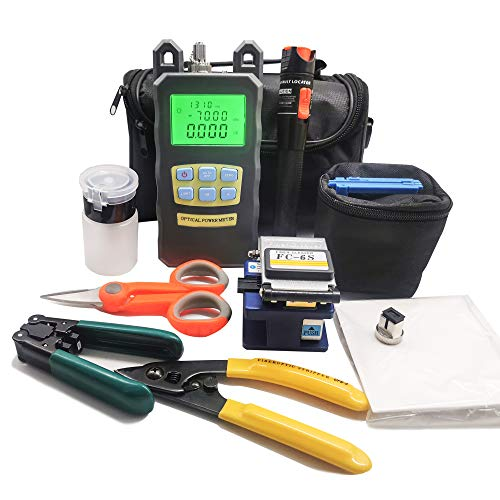 D YEDEMC FTTH Fiber Cold Connection Tool Kit with Fiber Cleaver FC-6S Visual Fault Locator Optical Power Meter (FC and SC Adapter) Cable Tester Stripping Tool Dust-Free Paper