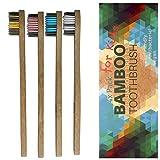 Bambus Zahnbürsten Kinder Weich 4er - Holzzahnbürste Plastikfrei Kinderzahnbürste, 100% frei von BPA und BPS, Borsten mit Bambus-Holzkohle, zero waste, Extra Weiche Borsten