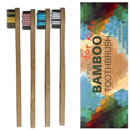 Bambus Zahnbürsten für Kinder 4er weich - Vegan Holzzahnbürste, BPA/BPS frei (zertifiziert), Bambus-Holzkohle Borsten, kleine Kinderzahnbürste, 3-9 Jahre, biologisch abbaubar, Bio