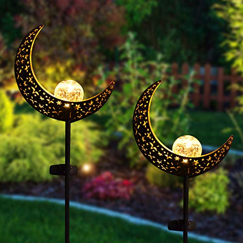 Joiedomi 2 Pack Moon Crackle Glass Globe Metal Solar Yard Garden Stake Lights, Pathway Outdoor Stake Lights, Waterproof for Walkway, Pathway, Yard, Lawn, Patio or Courtyard