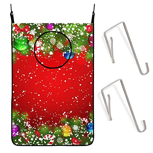 N\A Door Wall Hanging Laundry Hamper Bag, Christmas Tree Ball Space Saving Dirty Clothes Bag Oxford Fabric Storage Basket with 4 Hooks for Closet Behind Doors Bathroom Kids Bedroom