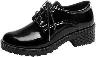 Botas Militares para Mujer Otoño Invierno PAOLIAN Calzado de Dama Charol Moda Botines Plataforma Bajos cuña con Cordones tacón Ancho Botas Chelsea Zapatos Negras Talla Grande Retro