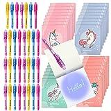 BONNYCO Bolígrafo Tinta Invisible y Libreta Unicornio Pack x32 Detalles Cumpleaños Niños, Regalos Cu...