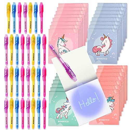 BONNYCO Bolígrafo Tinta Invisible y Libreta Unicornio Pack x32 Detalles Cumpleaños Niños, Regalos Cumpleaños Niños Colegio, Piñatas de Cumpleaños | Regalos Fiesta Cumpleaños Infantil