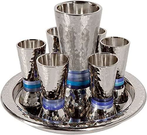Yair Emanuel Hammered Nickel Cone Shaped Set Ring Kiddush Dallas Mall - Blue Bargain