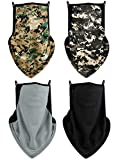 4 Pieces Face Bandana Ear Loops Balaclava Face Covers Neck Gaiter Scarf for Outdoors Sports (Camouflages, Grey, Black)