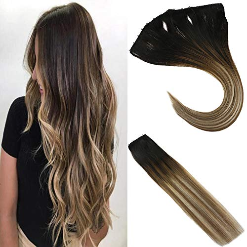 Sunny EZE Weft Hair Extensions Darkest Brown Fading to Medium Brown with Light Blonde Micro Beads Hair Extensions 100%...