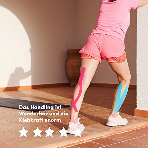Effekt Manufaktur Kinesiologie Tape in verschiedenen Farben (5m x 5cm) – Kinesiotapes wasserfest und elastisch Sport – Physiotape Kinesiotape Set Sporttape – Tape Kinesio (Hellblau + Pink, 2er Set) - 5