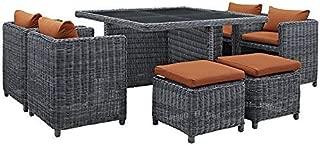 Modway Summon 9 Piece Outdoor Patio Dining Set With Sunbrella Brand Tuscan Orange Canvas Cushions (Renewed)