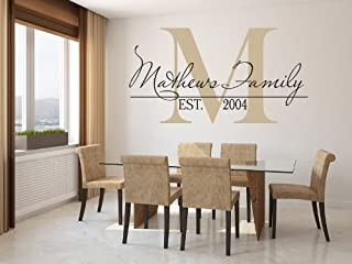 Family Name Wall Decal Custom Monogram Est Year Living Room Decor with Capital Letter (39