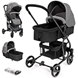 Hello-5ive Pushchair Travel System, Foldable Lightweight Baby Stroller with Rain Cover, Carrycot, Adjustable Seat, 5 Point Harness, Large Basket, Buggy Pram from Birth to 3 Years