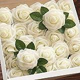 Higfra Flores artificiales africanas violetas moradas flores falsas para decoración del hogar, boda, paquete de 1, Crema