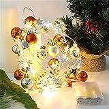 Nicole Knupfer LED Weihnachtskugeln Lichterkette, Dekorative 2m 20er LED Christbaumkugeln, Batteriebetrieben Weihnachtslichterkette für Weihnachten (Kupfer)