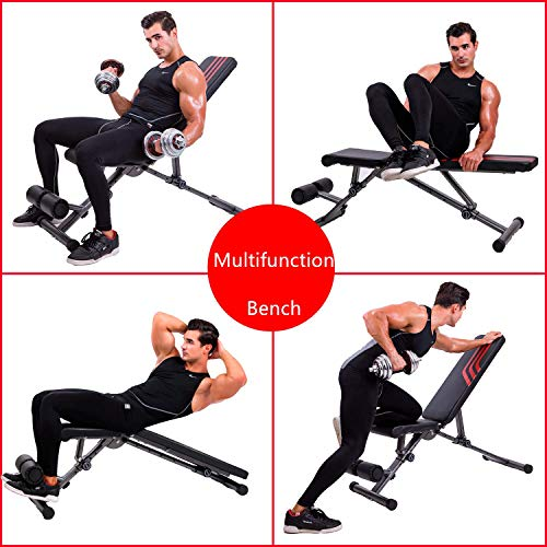 Adjustable Weight Bench Upgrade Utility Full Body Exercise Workout Bench Flat/Incline/Decline Bench Press for Home Gym Black