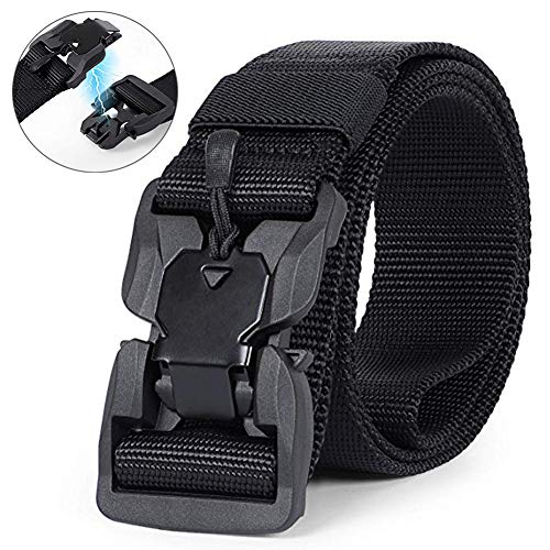 Read About MOZETO Tactical Belt, Military Nylon Rigger Webbing Waist Belt with V-Ring Magnetic Quick-Release Buckle, Men's Work Belt