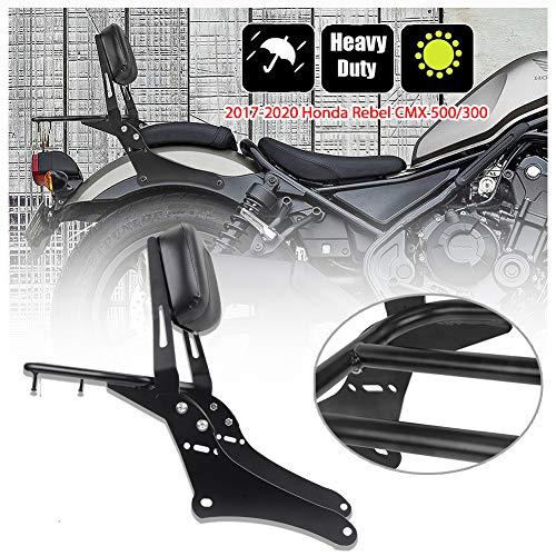 Motocicleta Acero negro Sissy Bar Sissybar Asiento trasero del pasajero Respaldo Portaequipajes Adaptador para Hon-da Rebel CMX 500 300 CMX500 CMX300 Accesorios 2017 2018 2019 2020 17-20(No.2)