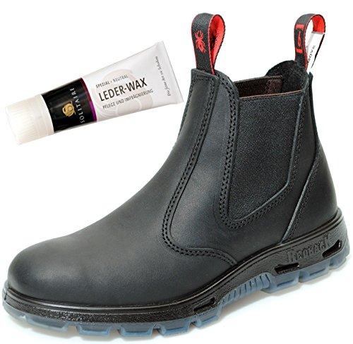 RedbacK USBBK Safety Boots mit Stahlkappe aus Australien Unisex - Black + Lederwax von Solitaire (UK 02.0 / EU 34.5)