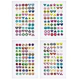 SAVITA 240 Stück Klebeohrringe Ohrringe 3D Aufkleber Selbstklebend Klebeohrringe Sticker Aufkleber Ohrringe für Mädchen Kinder Kinder Mehrere Farben und Formen (4 Blatt)