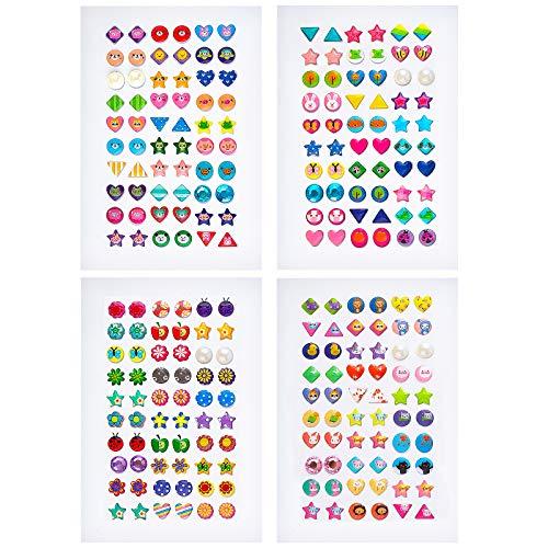 SAVITA 240 Piezas Pendientes Adhesivos, Pegatinasde Gemas 3D, Pegatinas de Cristales Brillantes y Brillantes, Pendientes Adhesivos para Niñas, Niños, Formas (4 Hojas)