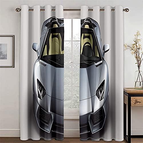 HOMEIEU Cortina Térmica Opaca, Patrón Creativo De Coche En 3D, Adecuada para Sala De Estar, Dormitorio, Habitación Infantil, Juego De 2 (AN132xAL214cm-2PCS)