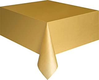 "Unique Rectangular Plastic Table Cover, Gold, 137cm x 274cm (54"" x 108"")"