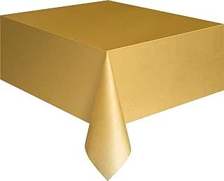 """Unique Rectangular Plastic Table Cover, Gold, 137cm x 274cm (54"""" x 108"""")"""