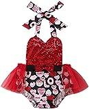 Carolilly 2 Pièces Costume Bébé Fille Barboteuse Imprimé Coeur Rouge Bandeau Robe Tutu Nouveau-Né sans Manches Romper pour Bébé Fille 0-24 Mois Saint-Valentin