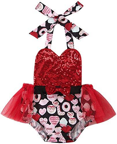 Carolilly Conjunto de 2 piezas de bebé con estampado de corazón rojo + diadema para el pelo de bebé sin mangas tutú vestido Valentine's Day Body niña 0 – 24 meses Rosso B 18-24 Meses