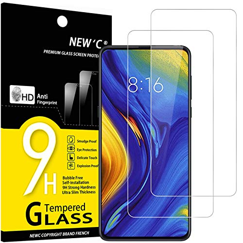 NEW'C 2 Unidades, Protector de Pantalla para Xiaomi Mi Mix 3, Antiarañazos, Antihuellas, Sin Burbujas, Dureza 9H, 0.33 mm Ultra Transparente, Vidrio Templado Ultra Resistente