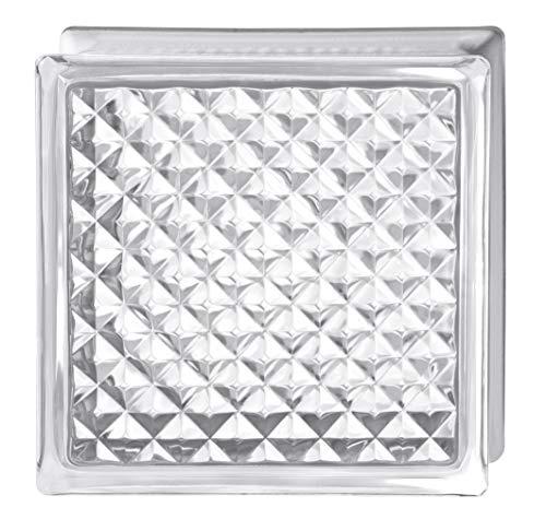 Bormioli Rocco - Cristal de ladrillo transparente decorado Pure Neutro de poliedro,...