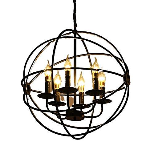 DXYSS Decoración Hogareña Iluminación Colgante Araña, Westinghouse Lighting Seis luz de la lámpara de Interior, Madera del Granero y de Acabado en Bronce aceitado, Negro (Size : 42cm in Diameter)