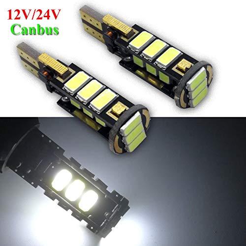 Ruiandsion Lot de 2 ampoules LED T10 194 168 Canbus super lumineuses 12-24 V pour intérieur de voiture Blanc