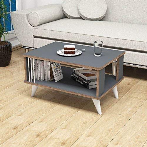 Homemania salontafel Basso Nicol Riviste boekenkast, met opbergvak - antraciet, noce, wit van hout, 70 x 50 x 40 cm