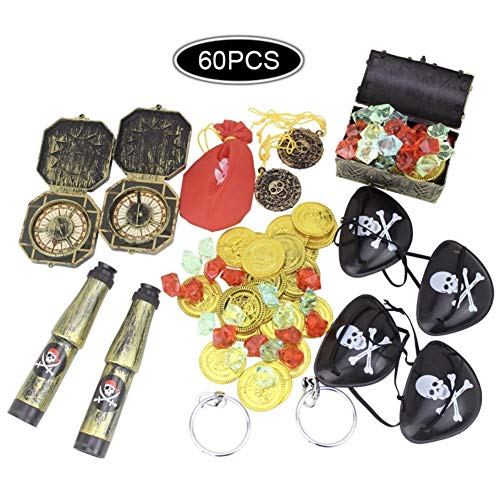 CheeseandU 60Pcs Pirate Treasure Toy Set Includ Pirate Eye Patches Gold Coins Pirate Gems Jewelry Treasure Box Pirate Telescopes Compass and Earrings for Kids Pirate Party Pirate Favor Toys