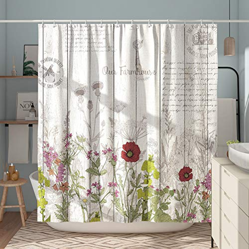 DESIHOM Vintage Floral Shower Curtain Country Wildflower Shower Curtain Farmhouse Wood Decor Flower Plant Shower Curtain Polyester Waterproof 72x72 Inch