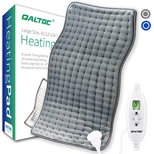 QALTGC Heating Pad for Back Pain and Cramp Relief Extra Large 12quot x 24quot Size Electric Heat Pad 10 Temperature Level 9Timer Settings Auto Shut Off Moist and Dry Therapy for Shoulder Neck Soft Washable