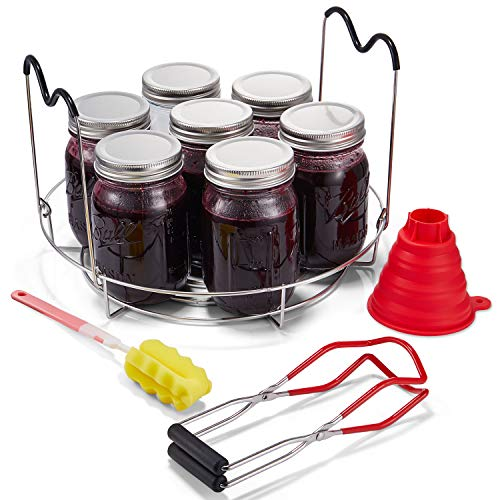 Stainless Steel Jar Lifter Tongs with Non-slip Safe Handle Grip Cans Gripper Clamp Anti-Skid Wide-Mouth Clip for Kitchen Restaurant Jars 2Pcs Canning Jar Lifter Red