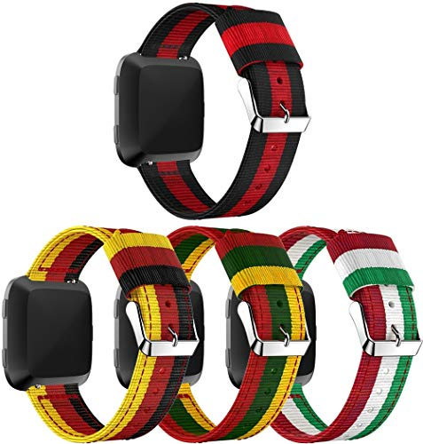 Nylon Trenzado Correa de Reloj Compatible con Fitbit Versa, Clásicos exquisitos Pulseras de la Correa de los Hombres (4PCS B)