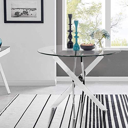 GOLDFAN Esstisch Glas Wohnzimmertisch Glastisch Moderner Stil Küchentisch Runder Tisch mit...