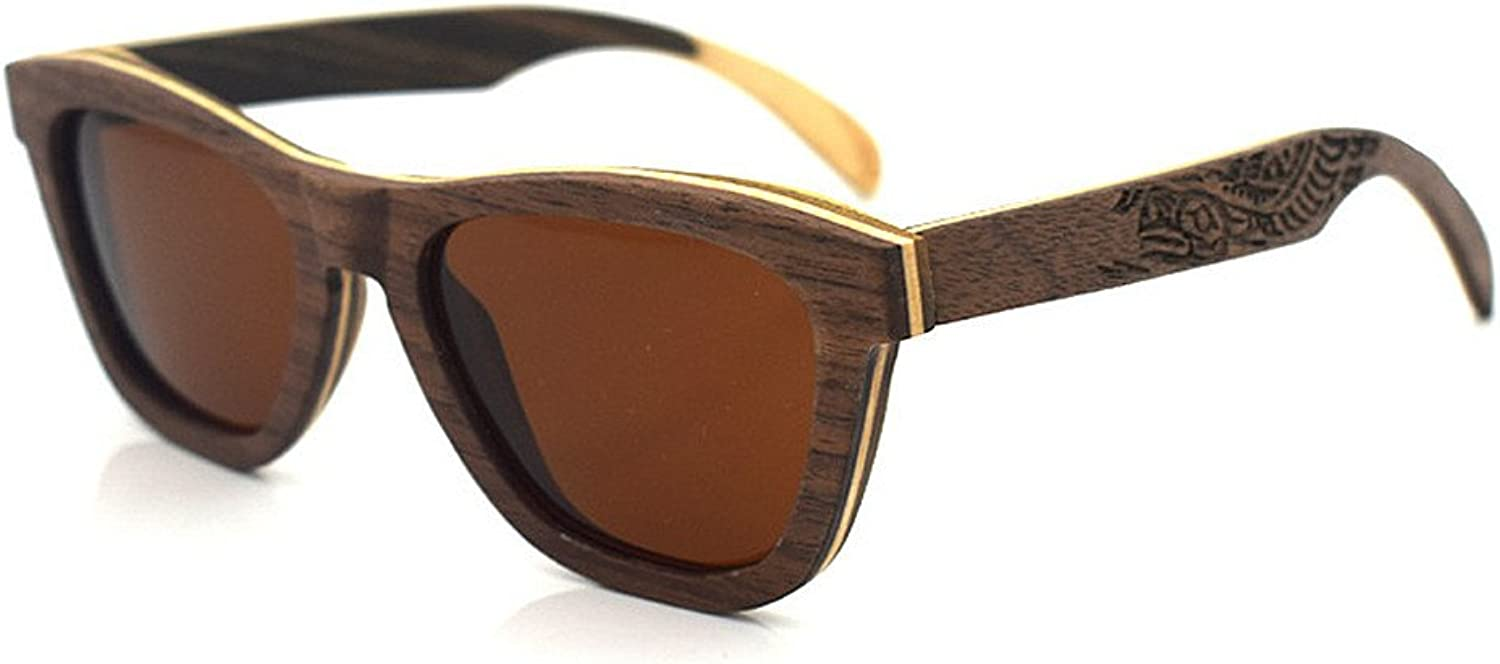 Classic Sunglasses 100% UV Predection Mirrored Flat Lens Large Sunglasses Wood Frame with for Men for Women Unisex Sports Sunglasses,Women Rectangular Sunglas