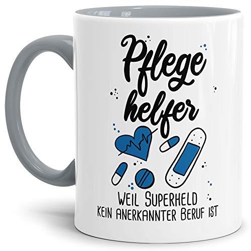 Tassendruck Berufe-Tasse Superheld Pflegehelfer - Kaffee-Tasse mit Spruch/Arbeit/Job/Lustig/Geschenk-Idee - Innen & Henkel Grau