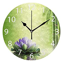 senya Zen Garden Theme Decor Purple Lotus Round Wall Clock, Silent Non Ticking Oil Painting Decorative for Home Office School Clock Art