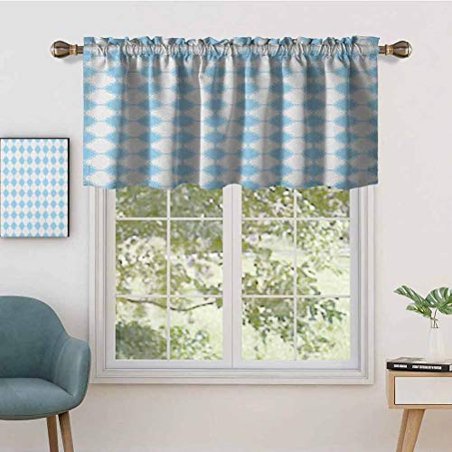 Hiiiman Extra Short Valance Thermal Insulated Window Curtains Blue White Mosaic with Arabesque Culture Influences in Tile, Set of 2, 54'x36' Home Decorative Panels for Bathroom