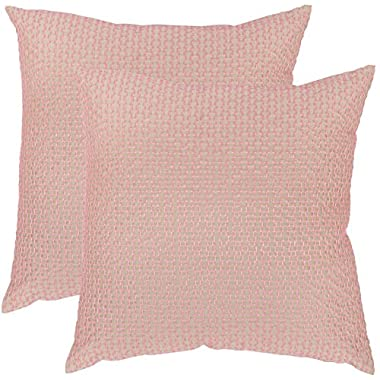 Safavieh Pillow Collection Throw Pillows, 12 by 20-Inch, Box Stitch Neon Petunia, Set of 2
